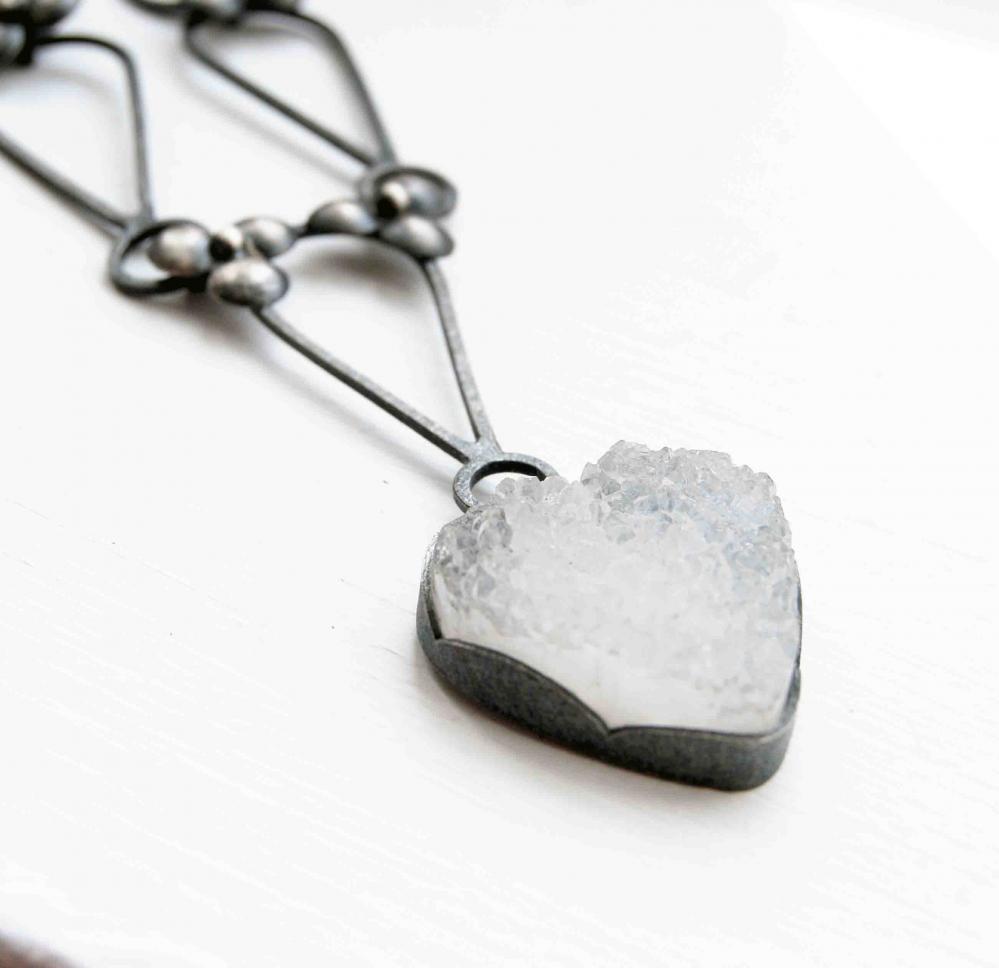 Oxidized Sterling Silver Necklace. White Druzy Heart Quartz. Black. OOAK. Metal Naïf 2 Necklace. Handmade by Maria Goti Joyas.