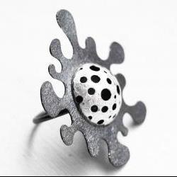 Oxidized - Texturized Sterling Silver Ring. Black and White. CRIATURAS MARINAS Ring. Handmade by Maria Goti Joyas