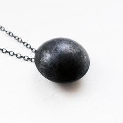 Oxidized - Texturized Sterling Silver Pendant. Black. Oval Link Chain. DOTS Pendant. Handmade by Maria Goti Joyas