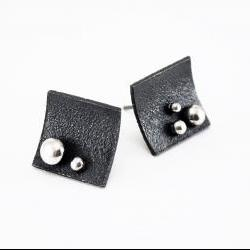Oxidized - Texturized Sterling Silver Earrings. Black and White. Post. Raindrops 2 Earrings. Handmade by Maria Goti Joyas